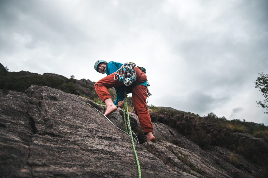 trad climbing woman scotland