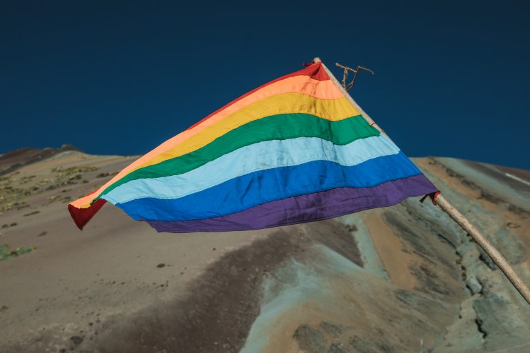 rainbow mountain flag
