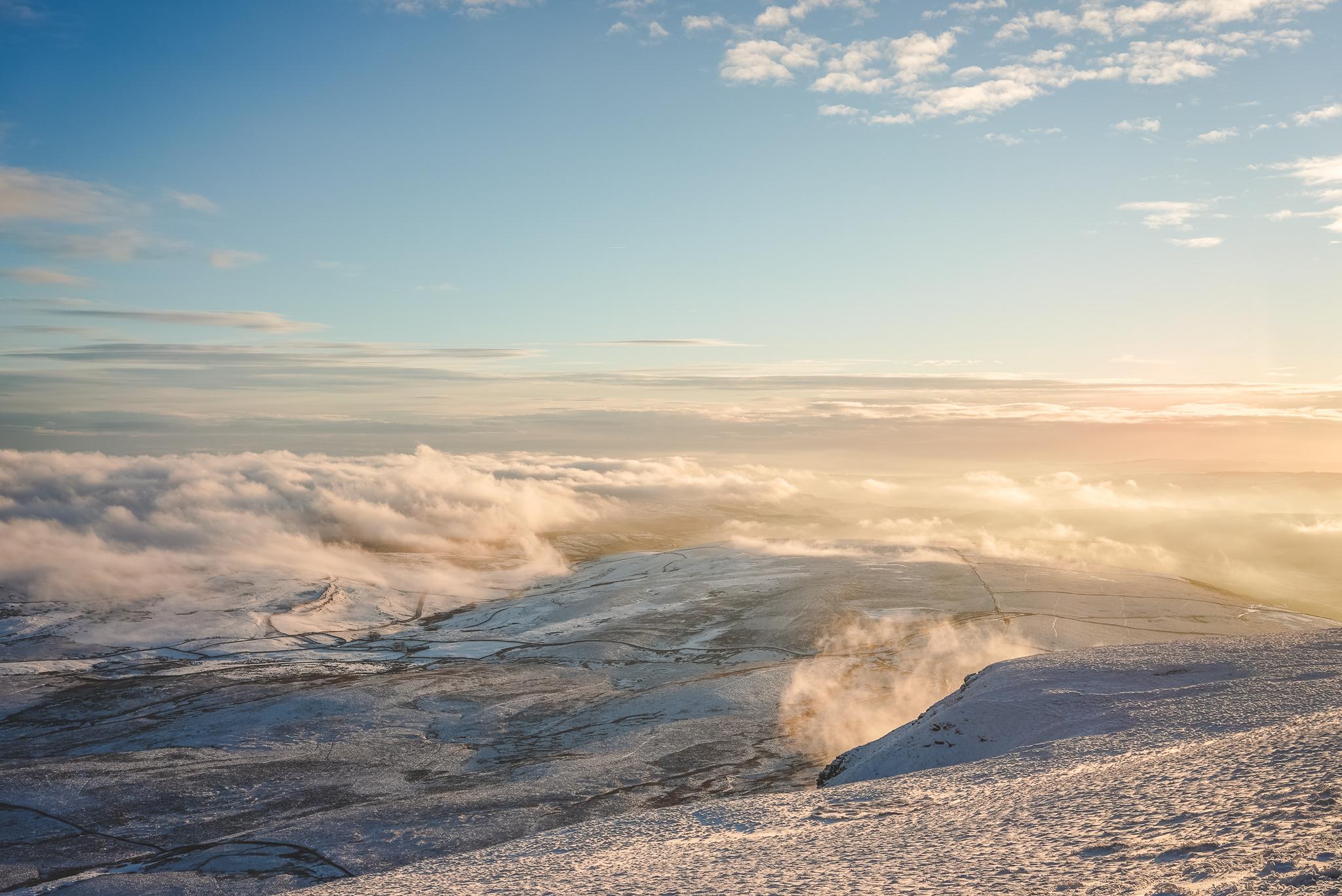 pen y ghent yorkshire dales cloud inversion golden hour