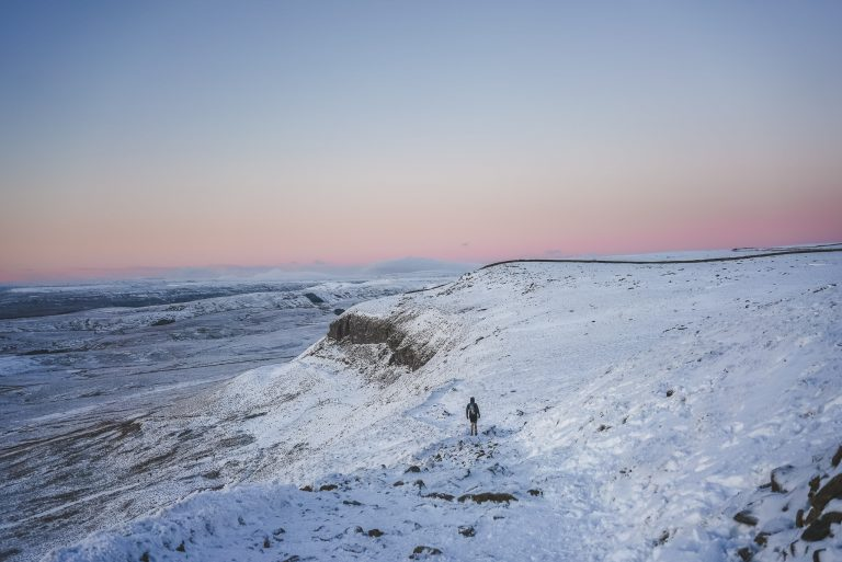 sunset pen y ghent yorkshire dales trail running man snow